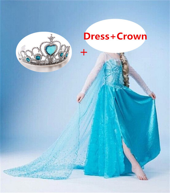 Fancy Baby Girl Role Play Princess Dress for Girls Clothing Halloween Fancy Cosplay Costume Christmas Party Gift Crown 2