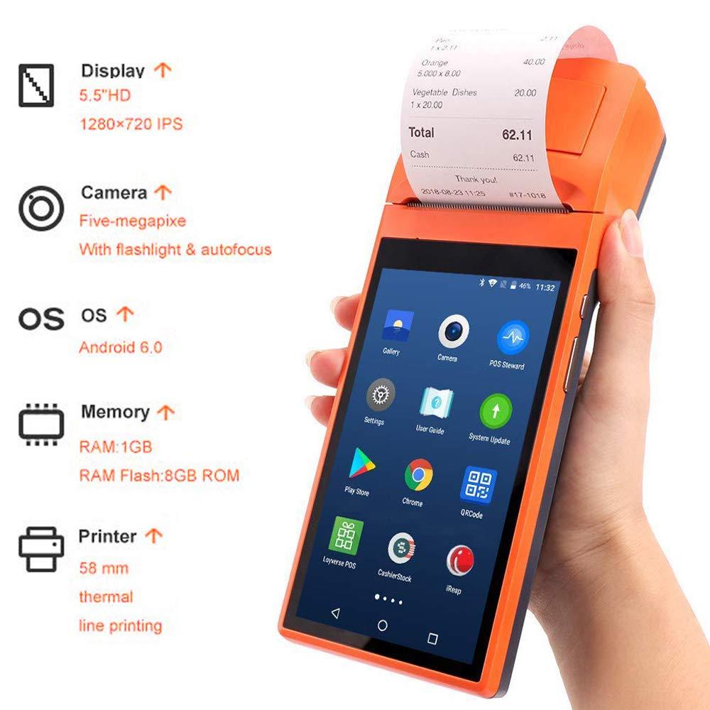 Munbyn android portátil pda bluetooth impressora de recibos térmicos pos scanner terminal câmera pedir coletor de dados em dinheiro
