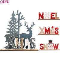 QIFU Christmas Elk Wooden Christmas Decor for Home Christmas 2019 Tree Pendant Christmas Wood Ornaments Navidad New Year 2020