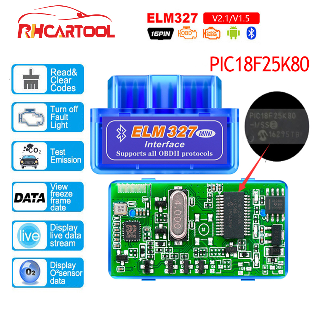 OBD2 Car accessories ELM327 Bluetooth <font><b>V1.5</b></font> PIC18F25K80 Chip OBD2 Code Reader <font><b>ELM</b></font> <font><b>327</b></font> <font><b>V1.5</b></font> OBDII Diagnostic Tool for Android/PC image