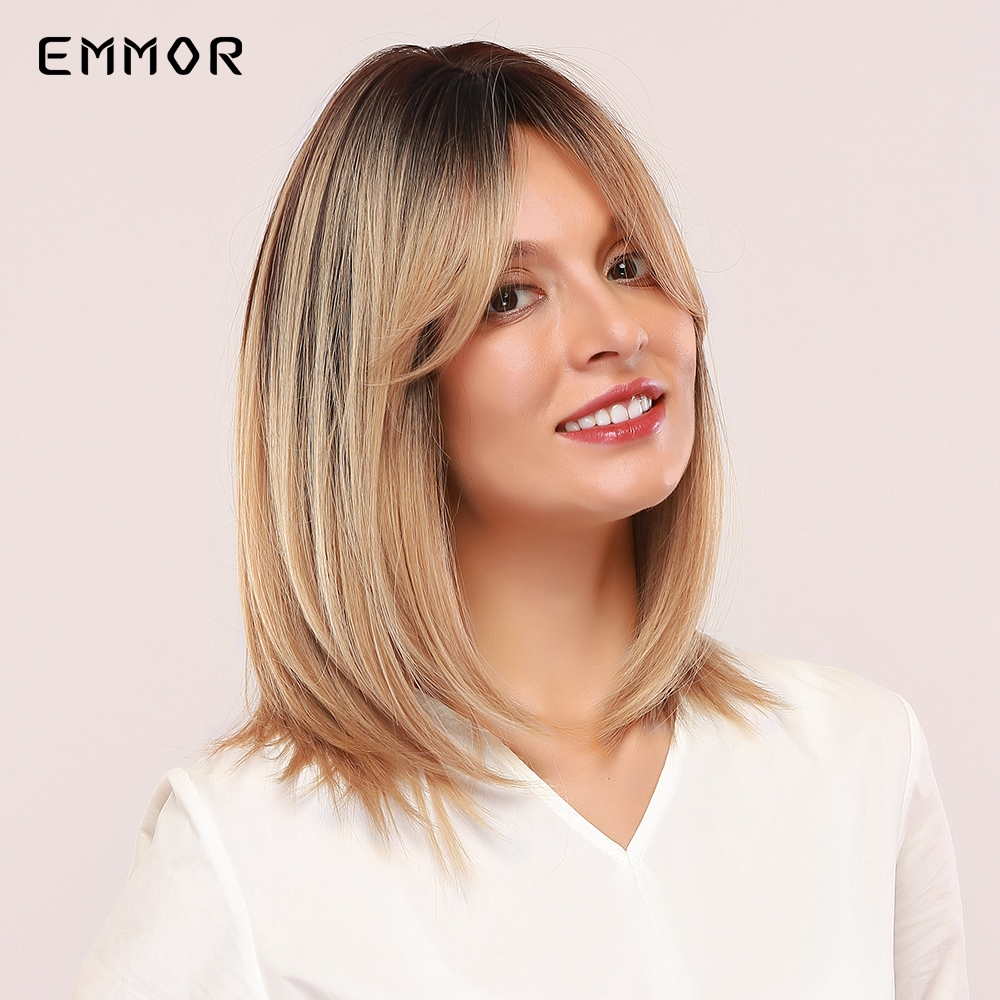EMMOR Shoulder Ombre Brown to Blonde Straight Hair Wigs with bangs Synthetic Wigs for Women Daily Heat Resistant Fibre