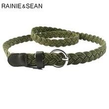 RAINIE SEAN Braided Belt For Women Army Green Waist Belt Cir