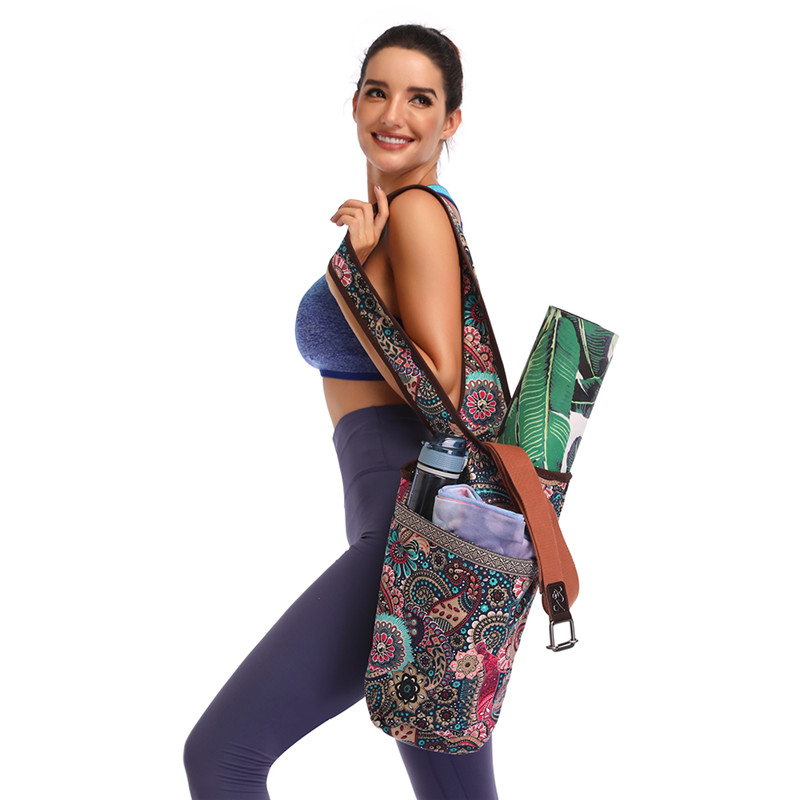 Print Gym Yoga Bag Canvas Multi-Pocket Yoga Bag Mat Storage Sports Fitness Mat Carrier Shoulder Backpacks Pilates Excercise Case