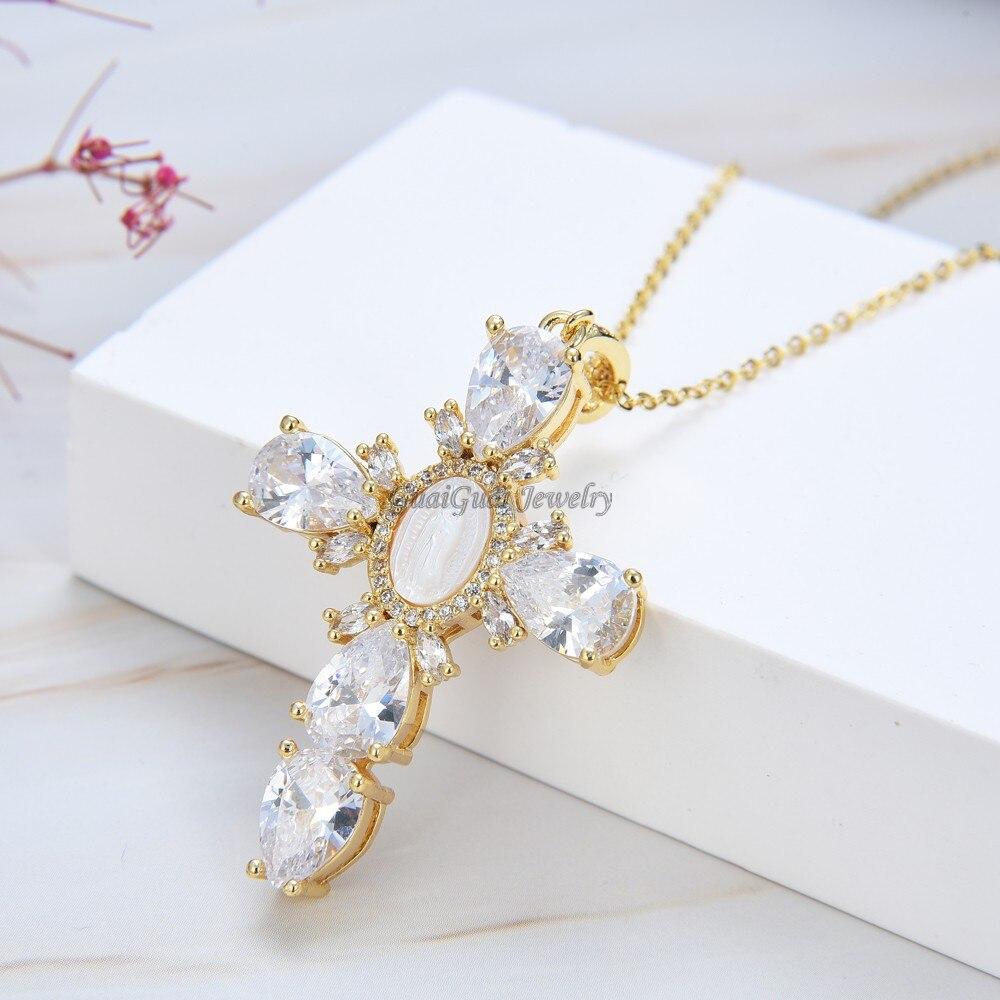 Ювелирные изделия GuaiGuai, кулон с крестом Богородицы 17,5 дюйма, ожерелье из жемчуга и кубического циркония, ожерелье