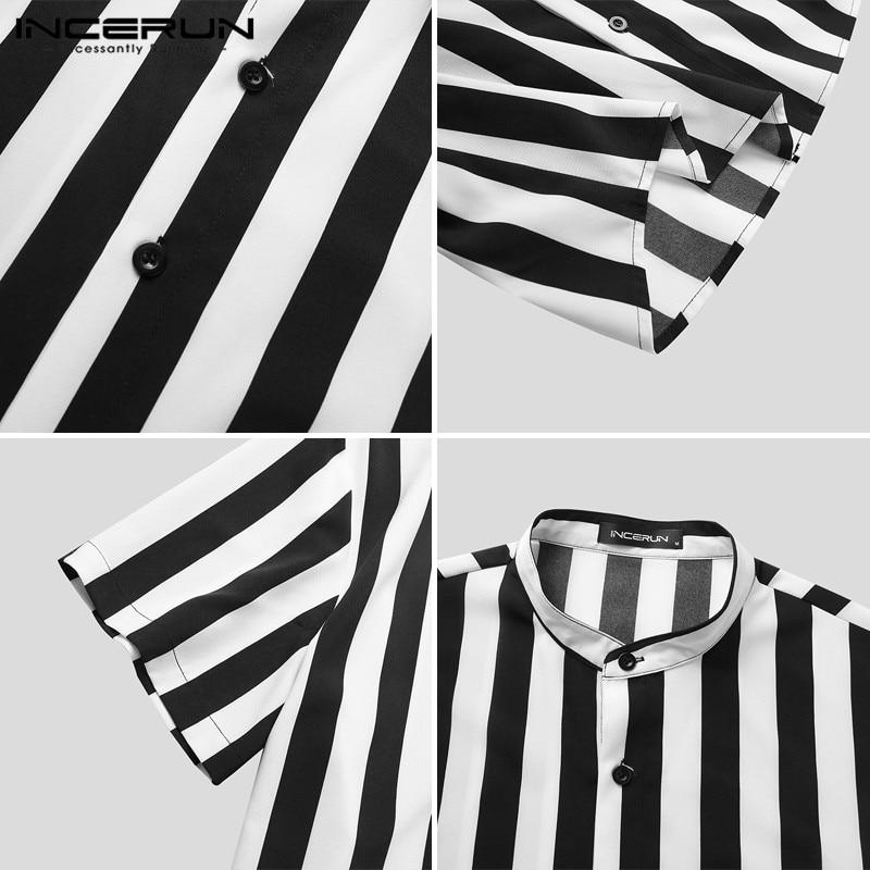 INCERUN Man Stylish Button Blouse Summer Casual Tops Masculina Fashion Striped Men Shirts Short Sleeve Stand Collar Shirt 5XL 7 5