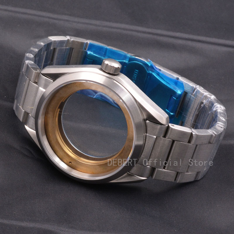 Watch Parts 41mm Watches Case 20mm Band Brass Coated 316L S Steel Belt  Fit ETA 2836/2824 Miyota8215 821A Movement For Mens