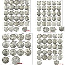 Ensemble complet de pièces de monnaie Morgan en argent plaqué (1878 – 1921) P/S/D/O/CC, 96 pièces