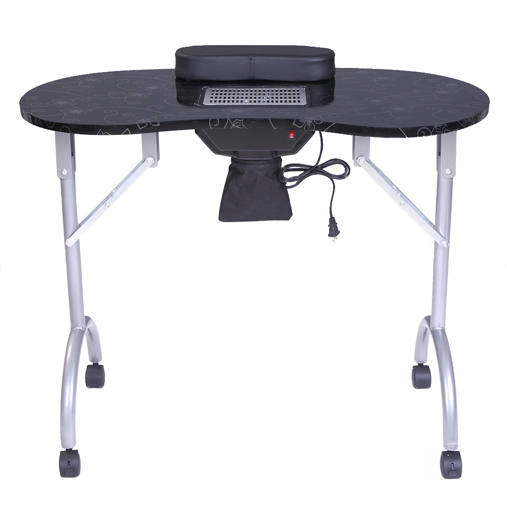 Portable MDF Manicure Table Spa Beauty Salon Equipment Desk With Dust Collector Cushion Fan Computer Table