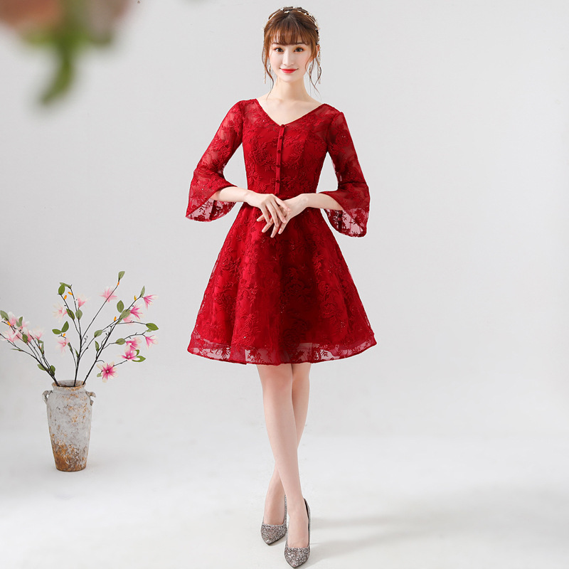 2019 Real Robe De Cocktail Courte Toast Dress The Bride New 2020 Summer Long Engagement Must Show Thin Recalls Wine Big Yards