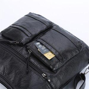 Image 4 - Kadın yıkanmış PU deri seyahat sırt çantası kadın sırt çantası okul omuz el çantaları kadınlar için 2020 sırt çantası Mochilas ana kesesi