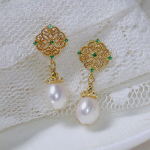 retro Baroque pearl earrings long style high-grade temperament women  rhinestone court vintage