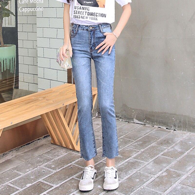 Pants Women's 2019 New Style High-waisted Straight-leg Pants Korean-style Slimming Capri INS Super Fire Jeans Women's