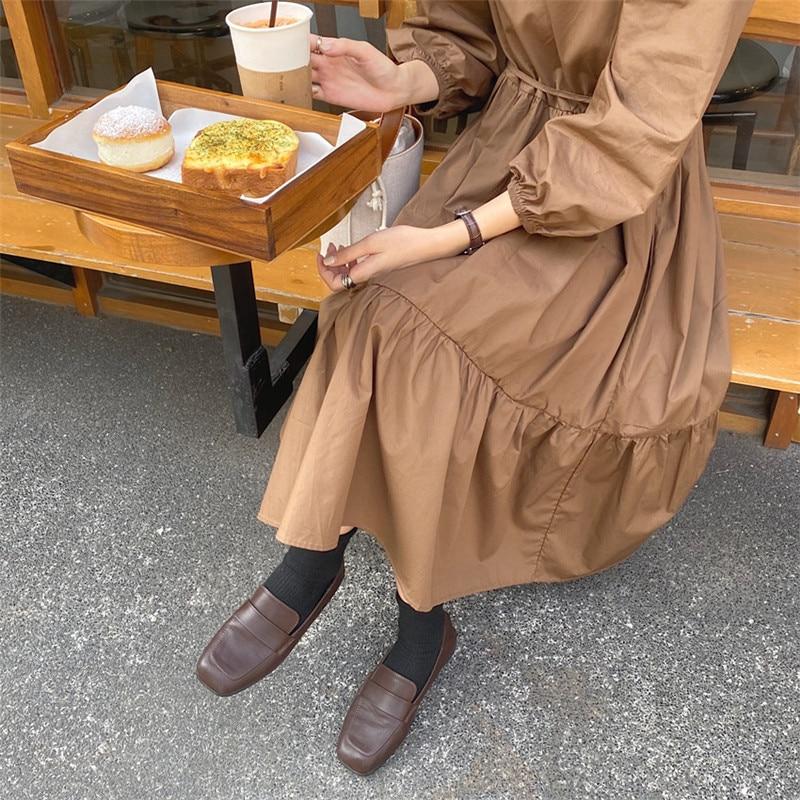 Hcb8588e9eb44418d8ab18f77b0c9a5f7d - Spring / Autumn Square Collar Long Lantern Sleeves Loose Solid Midi Dress