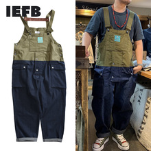 IEFB Color Matching Overalls Men's American Suspenders Trendy Braces Daddy Pants Jeans Pants Workwear Jumpsuit 2021 New 9Y5505