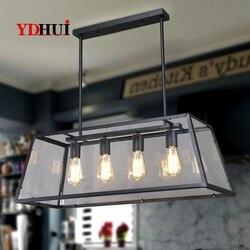 Wiatr przemysłowy retro loftowa żelazne szklane pudełka żyrandole amerykańska osobowość twórcza sypialnia salon oświetlenie do restauracji