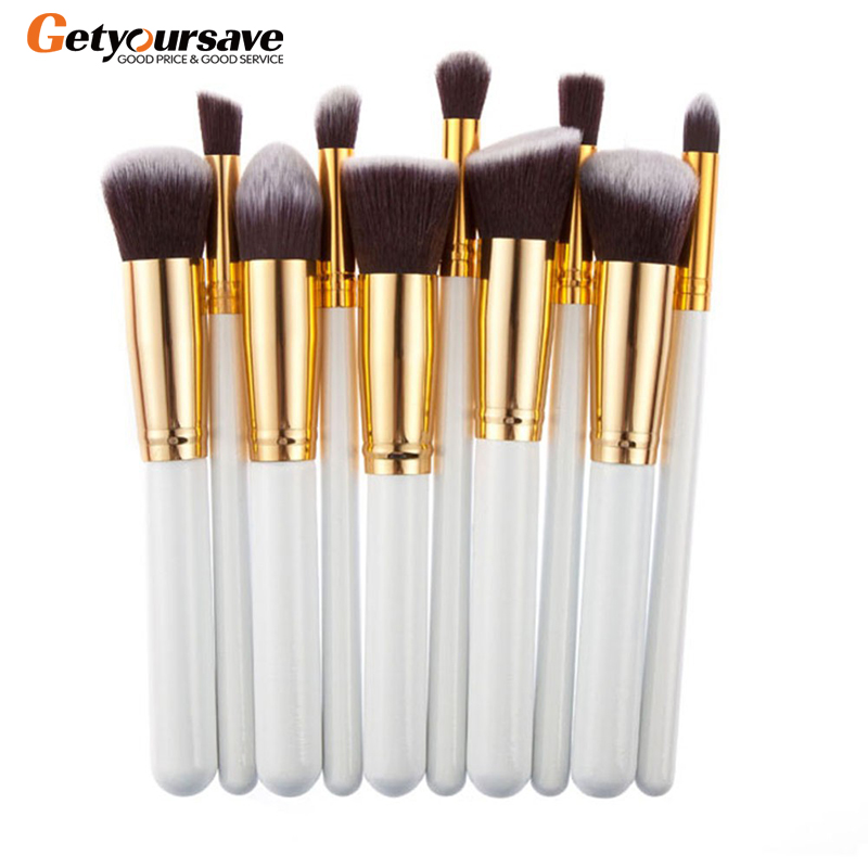 10 Pcs Silver/Golden Makeup Brushes Set Cosmetics Foundation Blending Blush Makeup Tool Powder Eyeshadow Cosmetic Set