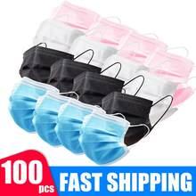 Máscara protetora de segurança máscaras seguras descartáveis anti máscaras de poeira 3 dobras máscaras de boca 3 camadas elástico earloop respirável máscaras entrega rápida