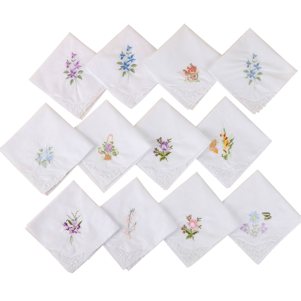 3Pcs/Set Women Basic White Square Handkerchief Floral Embroidered Pocket Hanky Butterfly Lace Cotton Baby Bibs