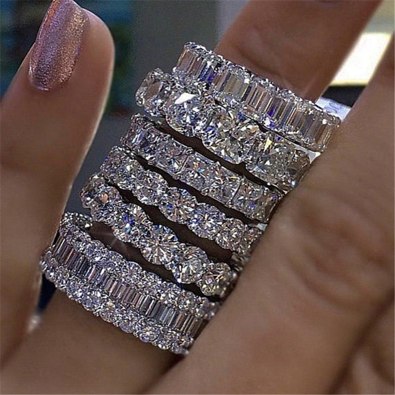 Eternal Eternity Band Promise ring 925 Sterling silver AAAAA cz Engagement Wedding Rings for women Men Finger Party Jewelry Gift title=