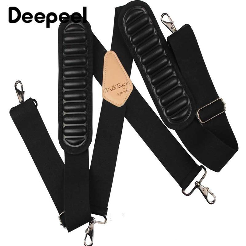 Deepeel 1pc 5cm*120cm Mens Air Cushion Shoulder Strap Tool Suspenders 4 Hooks  X-Back Braces Adjustable Elastic Suspenders YB614