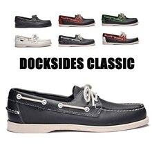 Mocassins de conduite anglais, cuir véritable, chaussure nautique, Docksides de bateau, chaussures pour hommes, mocassins de conduite, chaussures plates anglais 2019A039
