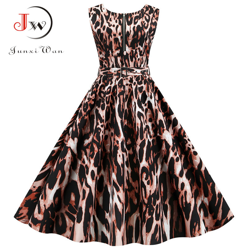 Summer Women Dress Sleeveless Sexy Leopard Print Party Dresses With Pocket Vintage Robe Femme Swing Pinup Elegant Midi Vestidos