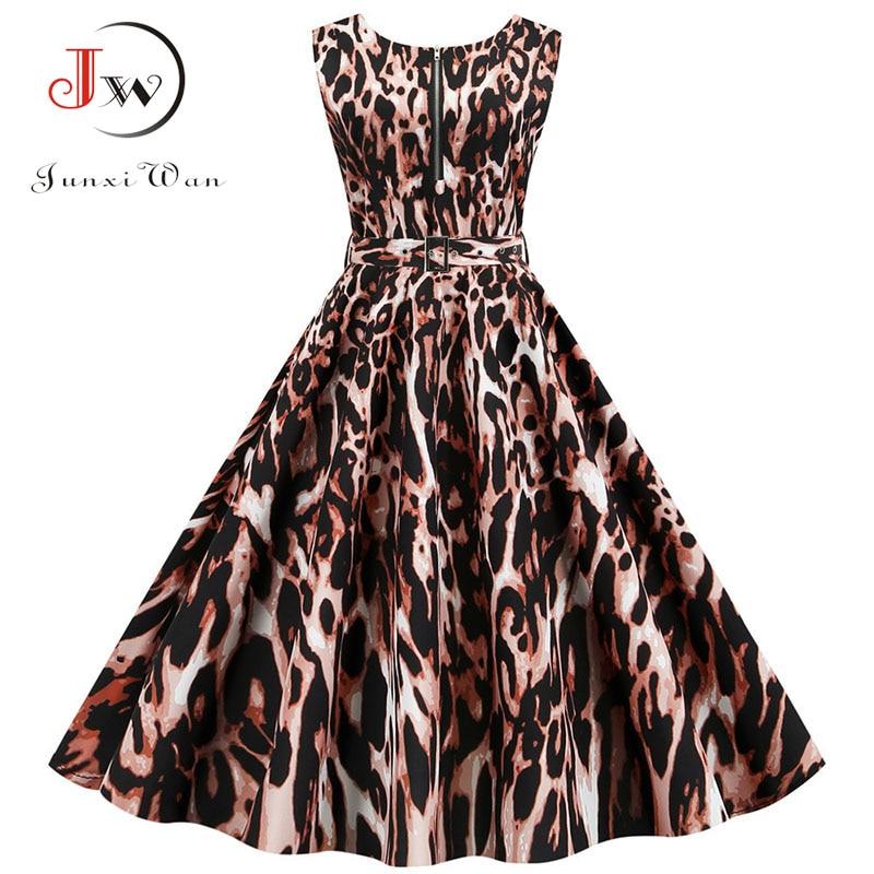 Summer Women Dress Sleeveless Sexy Leopard Print Party Dresses With Pocket Vintage Robe Femme Swing Pinup Elegant Midi Vestidos