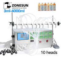 Máquina de enchimento líquida elétrica 3-4000ml da bomba de controle de digitas zonesun para o óleo líquido do álcool do suco de água do perfume com 10 cabeças