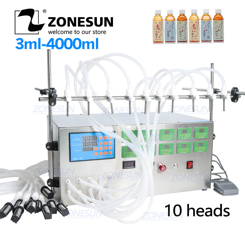 ZONESUN Electric Digital Control Pump Liquid Filling Machine 3-4000ml Liquid Perfume Water Juice Alcohol Hand Sanitizer 10 Heads