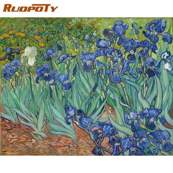 RUOPOTY 60x75cm DIY Painting By Numbers With Frame Famous Picture Flowers Wall Art Picture By Numbers For Diy Gift Artwork