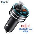 TOPK USB Автомобильное зарядное устройство Quick Charge 3 0 Dual USB Автомобильное зарядное устройство для мобильного телефона с Bluetooth 5 0 fm-передатчиком ...