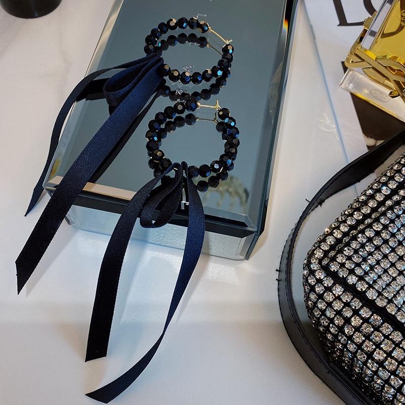 2020 New Women Korean temperament Black crystal earrings contracted long Ribbon Drop earrings geometric circular modelling