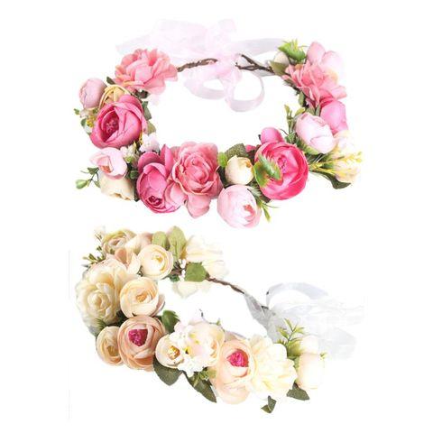 Festa de Casamento Coroa de Flores Botões de Flores Simulação Rosa Nupcial Tiara Chá Mod. 106357