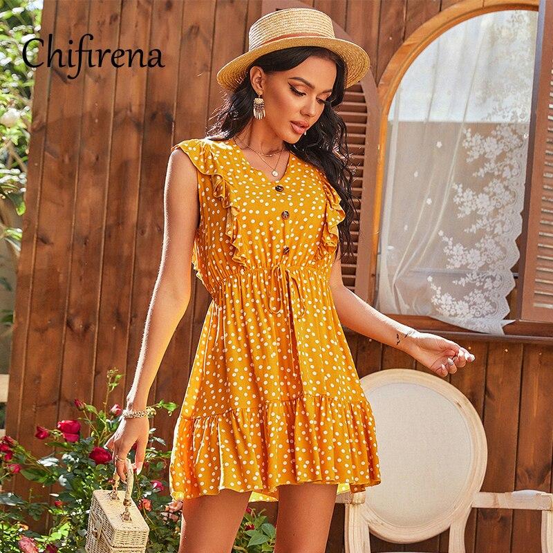 Летнее желтое платье Chifirena, женский сарафан в горошек с оборками, бандажные платья-трапеции без рукавов, пляжные Элегантные мини-платья в ст...