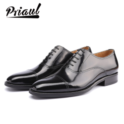 Dress Shoes Men 100% Genuine Leather Luxury Brand Handmade Vintage Retro Office Formal Party Wedding Brand Oxford Shoe Mens