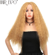 28inch Afro Kinky Straight Synthetic Lace Front Wig Long Fluffy Glueless Cosplay For Black Women 150% Density Hair Expo City