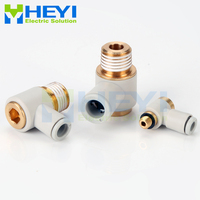 5PCS/bag KQ2VS hexagonal socket Air Pneumatic Pipe Connector 12mm OD Tube 3/8 1/2 Male Thread L Shape Gas Quick Fittings