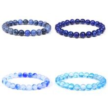 Blue Natural Stone Bracelets Bracelet Women Mala Beads Charms Meditation Ethnic Handmade Jewelry