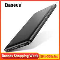 Baseus 10000mAh batterie externe pour iPhone téléphone Portable batterie externe Mini Portable batterie externe double USB banque d'alimentation de chargeur