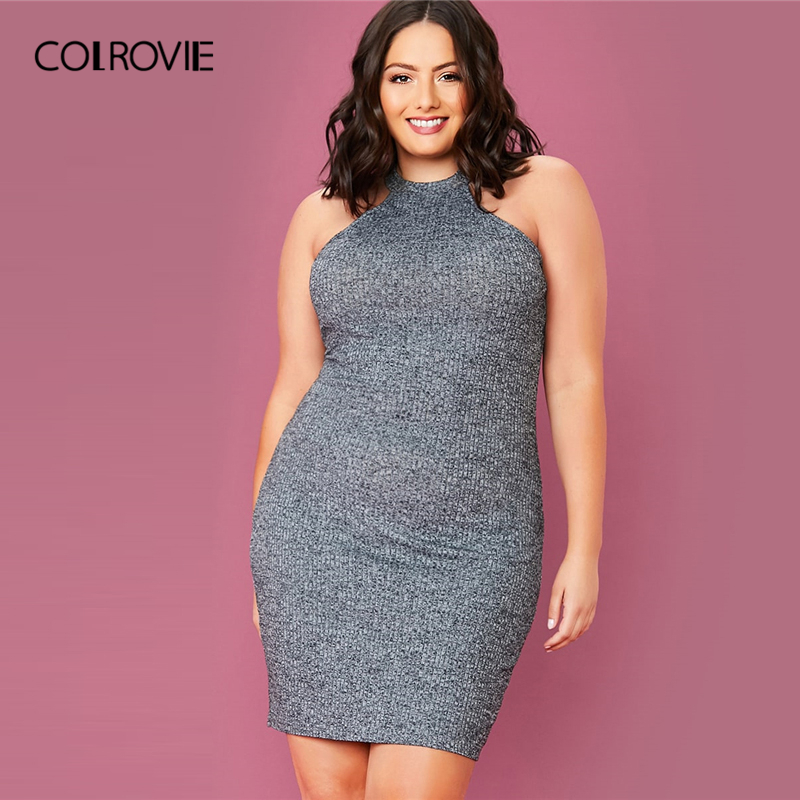 COLROVIE Plus Size Solid Rib-knit Halter Bodycon Dress Women Sleeveless Sexy Mini Dress 2020 Summer High Stretch Grey Dresses