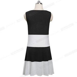 Image 2 - Đẹp Mãi Mãi Casual Màu Sắc Tương Phản Miếng Dán Cường Lực Không Tay Nữ vestidos Rời Dịch Chuyển Nữ A166