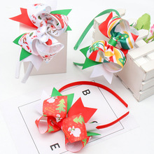 Oaoleer Hair Accessories Christmas Hairbands for Girls Stacked Ribbon Bows Hoop Printed Headwear Xmas Party