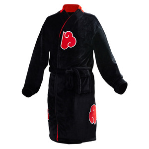 Kids Adult Bathrobe Akatsuki Uchiha Itachi Cosplay BathRobe Sleepwear Pattern Plush Robe Women Men Red Cloud Symbol Pajamas(China)