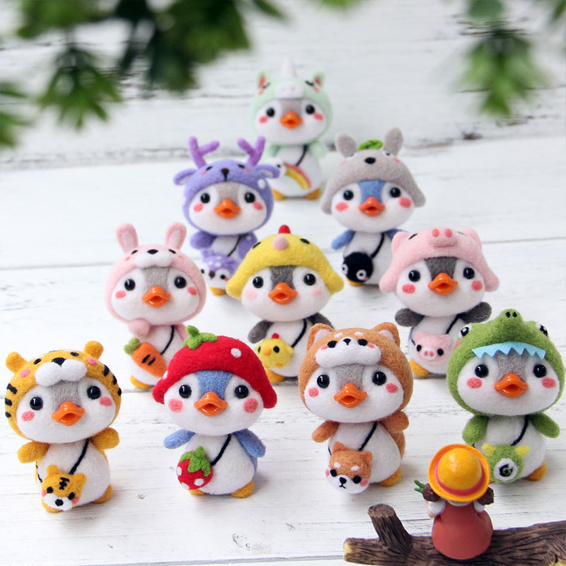 LMDZ 1Pcs Lovely Toy Doll Wool Felt Poked Kitting DIY Cute Animal Wool Felting Non-Finished Wool Felt DIY Package