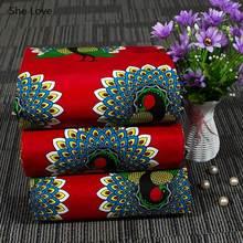 Chzimade Fiore di Pavone Stampe Reale del Tessuto della Cera Ankara Africano Tessuto Batik di Cotone Per Il Vestito Delle Donne Fai Da Te Fare Artigianato