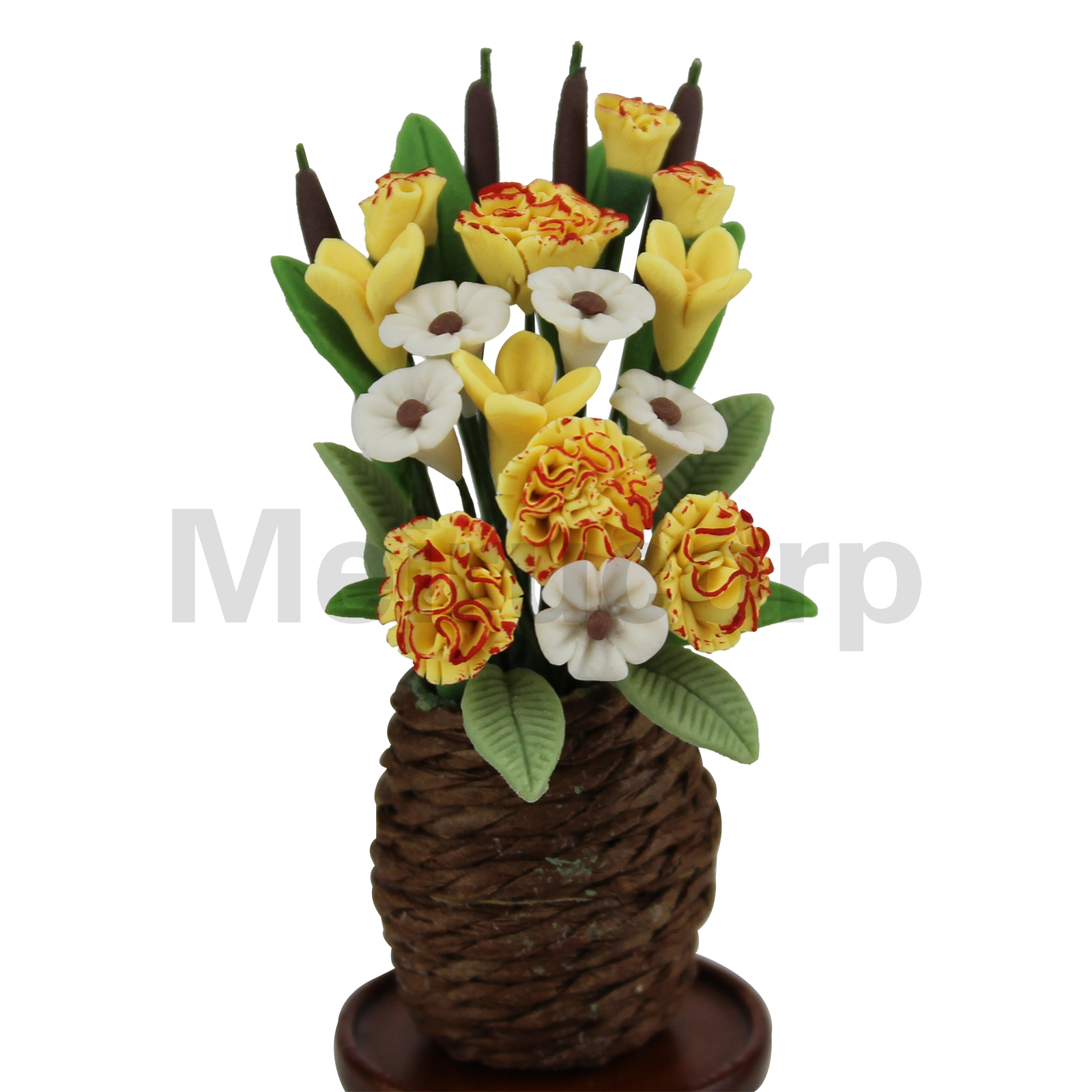 Miniature Dollhouse Hanging Basket With Yellow Flowers 1:12 Scale New