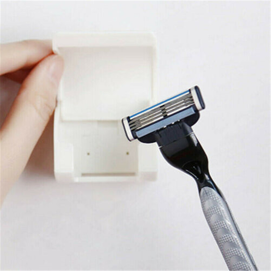 2PCS Shaver Hanger Holder Storage Racks Wall Mount Home Bathroom Accessories Shaver Cap Shower Razor Holder Organiser Box Z31