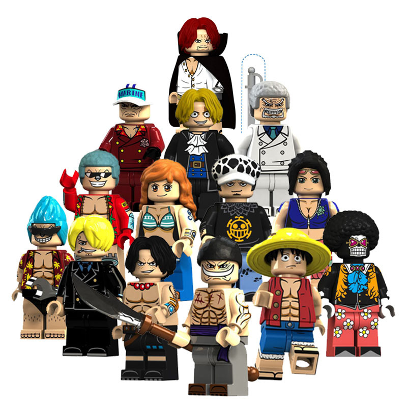 14-One Piece Luffy Ace White Beard Nami French Brooke Saab Fight Inserted Building Blocks Were Bag