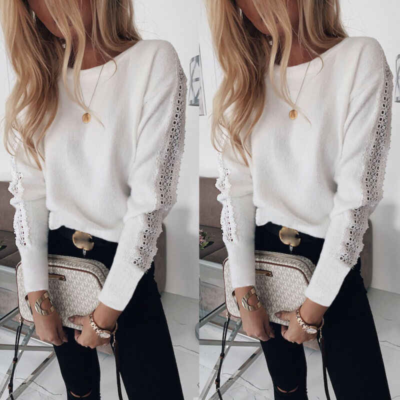 Winter Autumn Women's Blouse Sexy Casual Lace Bandage Top Long Sleeve Crew Neck Blouse Fashion Elegant Casual Loose Shirt Female