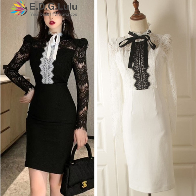 EDGLuLu woman <font><b>dresses</b></font> fall winter 2019 vintage long sleeves white patchwork black lace lace-up elegant midi <font><b>dress</b></font> image